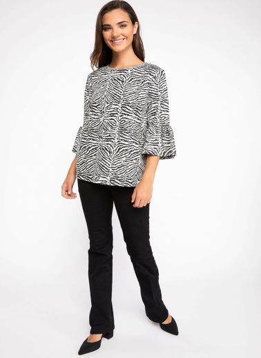 DeFacto Kolları Volan Detaylı Zebra Desenli Bluz Siyah